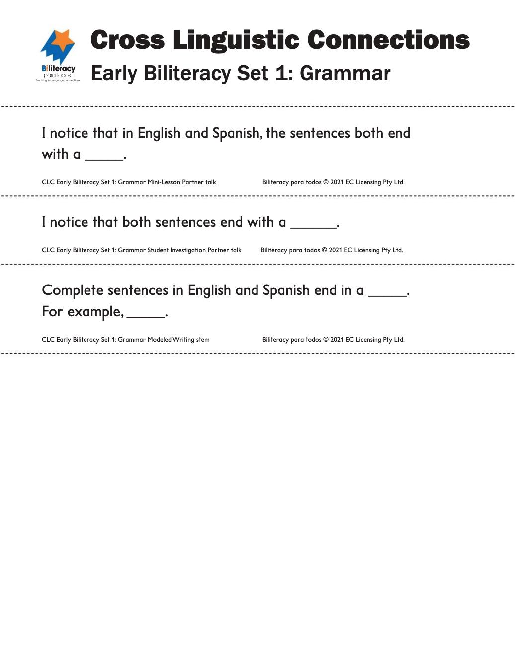 CLC Sentence Stems