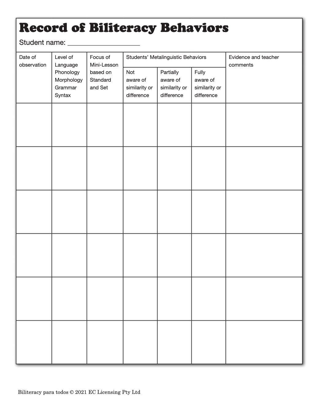 CLC Records of Reading Behavior